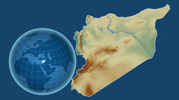 Syria and Globe. Relief Animation
