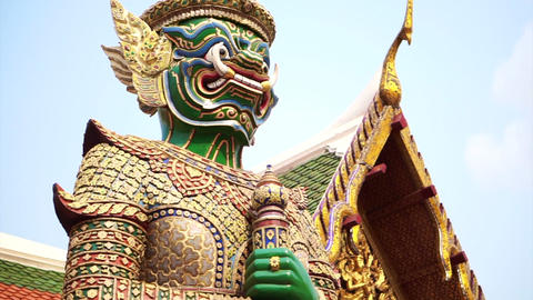 Giant statue around Wat Phra Kaew Temple Of Emerald Buddha. Landmark of Bangkok, Footage