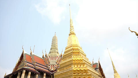 Wat Phra Kaew, Temple of the Emerald Buddha Landmark of Bangkok,Thailand Live Action