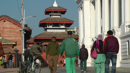 People walking to and from Durbar square,Kathmandu,Nepal Footage