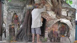 Man praying at small temple on Durbar square,Kathmandu,Nepal Footage