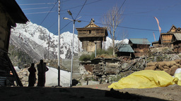 Village scene in himalayan village,Chitkul,India Footage