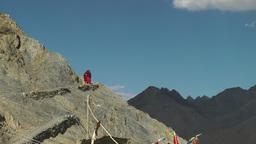 Monks walk up the Hill to their monastary,Lamayuru,India Footage