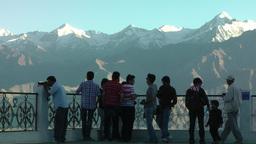 Tourist enjoy view frm Shanti Stupa ,Leh,India Footage