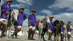 Polo jockeys in Blue before the match,Leh,India Footage