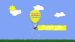 Animation of egg shaped balloon towing a banner with the message Easter sale Animation
