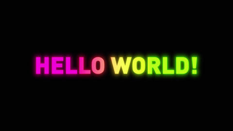 Hello World Message With Glow Effect Animation