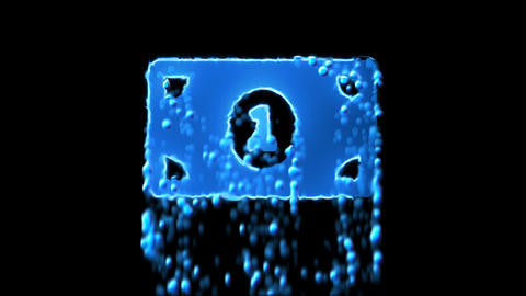 Liquid symbol money bill one appears with water droplets. Then dissolves with Animation