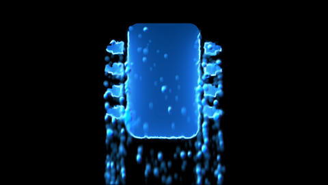 Liquid symbol microchip appears with water droplets. Then dissolves with drops Animation