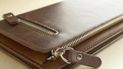 Brown leather men's wallet Footage