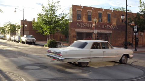 Cars At Sunset In Winslow Arizona United States Of America Live Action