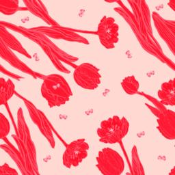 Peach coral tulips with butterflies seamless pattern ベクター