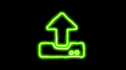 The appearance of the green neon symbol upload. Flicker, In - Out. Alpha channel Animation