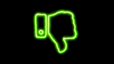 The appearance of the green neon symbol thumbs down. Flicker, In - Out. Alpha Animation