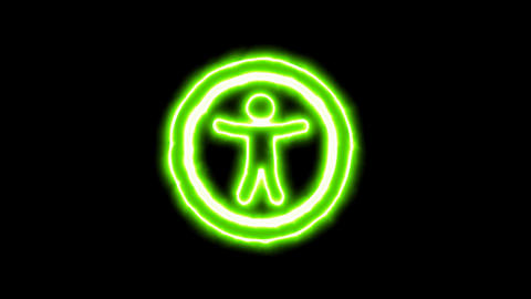 The appearance of the green neon symbol universal access. Flicker, In - Out. Animation