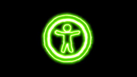 The appearance of the green neon symbol universal access.…, Stock Animation