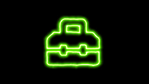 The appearance of the green neon symbol toolbox. Flicker, In - Out. Alpha Animation