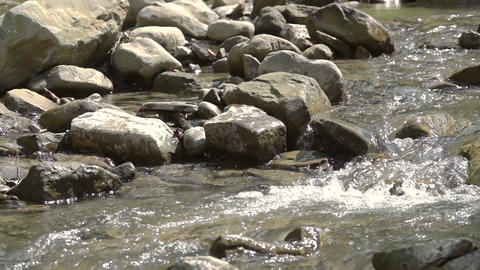 Mountain River in Sunny Weather. Slow Motion Live Action