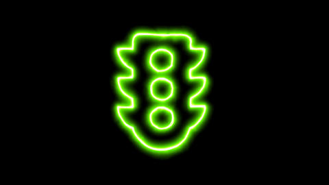 The appearance of the green neon symbol traffic light.... Stock Video Footage