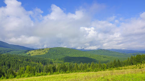 Weather Changes in the Forested Mountains. Time Lapse ビデオ