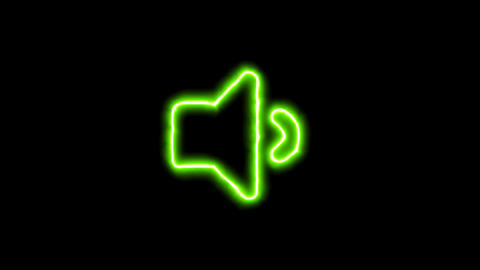 The appearance of the green neon symbol volume down. Flicker, In - Out. Alpha Animation