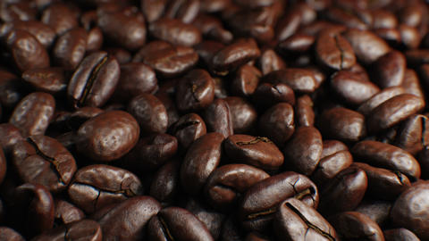 Beautiful Roasted Coffee Beans Seamless Turntable Rotation Close-up Slow Motion Animation