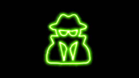 The appearance of the green neon symbol user secret. Flicker, In - Out. Alpha Animation