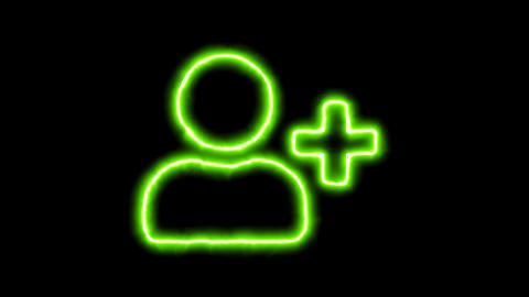 The appearance of the green neon symbol user plus. Flicker, In - Out. Alpha Animation