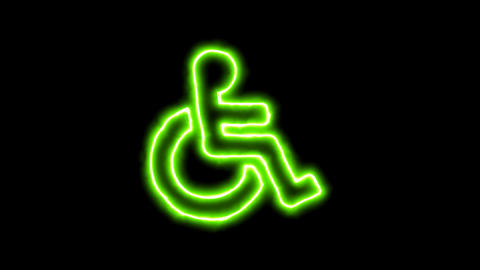 The appearance of the green neon symbol wheelchair. Flicker, In - Out. Alpha Animation