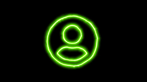 The appearance of the green neon symbol user circle. Flicker, In - Out. Alpha Animation