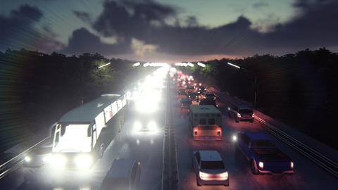 The camera flies over heavy traffic. Cars with lights on go through the city at Animation