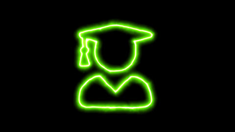The appearance of the green neon symbol user graduate. Flicker, In - Out. Alpha Animation