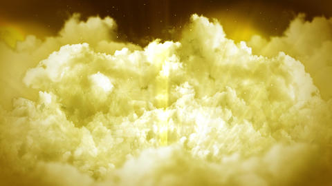 Fantasy landscape on cloudy sky, White smoke animation, Loop background CG動画素材