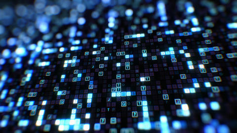 Beautiful Digital Code Hexadecimal Big Data Blue Color Seamless. Changing Animation