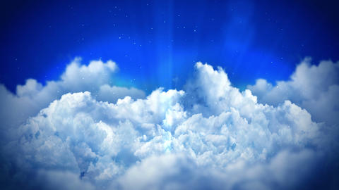 Fantasy landscape on cloudy sky, White smoke animation, Loop background Animation