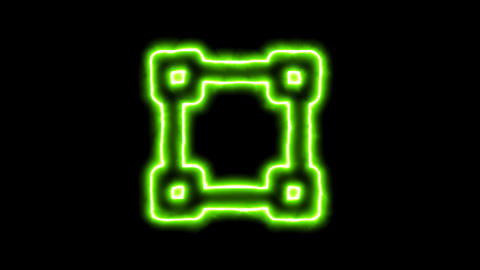 The appearance of the green neon symbol vector square. Flicker, In - Out. Alpha Animation