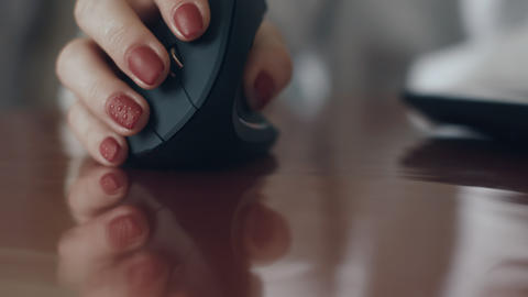 Young Woman Using Ergonomic Mouse Footage