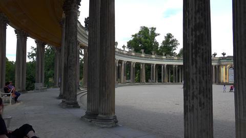 Luxurious colonnade of Sanssouci Palace in Potsdam. 4K Live Action