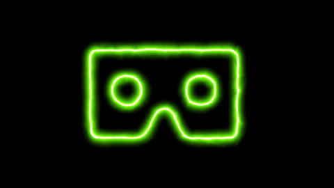 The appearance of the green neon symbol vr cardboard. Flicker, In - Out. Alpha Animation