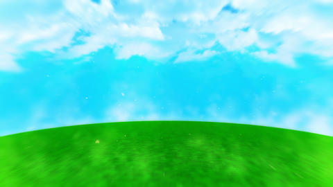 Lawn landscape illustration, Abstract nature background, Loop animation Animation
