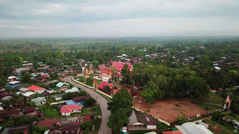 Aerial view of countryside top traditional home and village in Thailand Footage