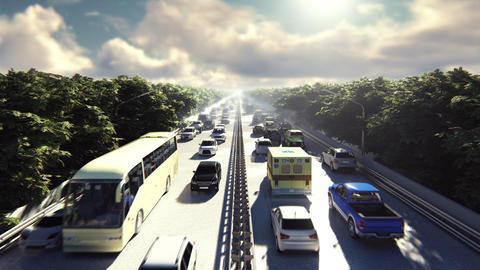 The camera flies over heavy traffic. Cars go through the city in the afternoon Animation