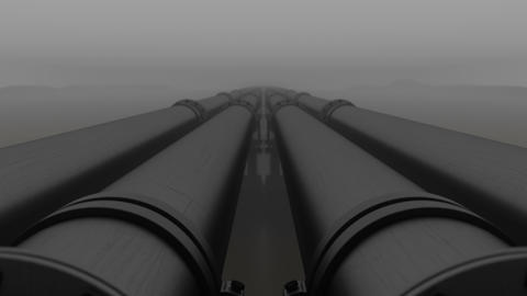 Pipeline transport oil, natural gas or water in metal pipe in fog Animation