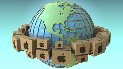 Cartons with Apple Inc logo around the world, America emphasized. Conceptual Footage