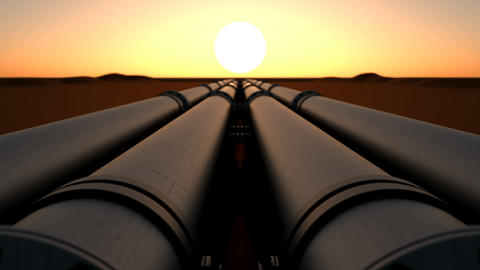 Pipeline transport oil, natural gas or water in metal pipe by sunset Animation