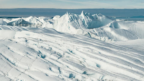 Global Warming and Climate Change - Icebergs from melting glacier on Greenland Live Action