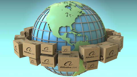 Boxes with Alibaba logo around the world, America emphasized. Conceptual Footage