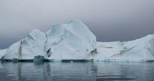 Global Warming and Climate Change - Icebergs from melting glacier in icefjord 영상물