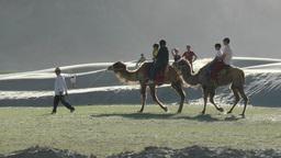 Tourists ride a camel sand dunes,Sumur,India Footage