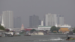 Long tail boat on Chao Praya river,Bangkok,Thailand Footage